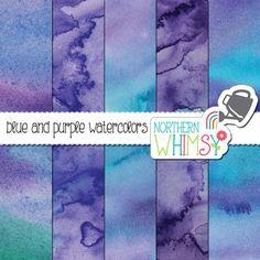 Watercolor Digital Paper – blue and purple watercolor scrapbook paper - watercolor texture - printable watercolor paper - commercial use