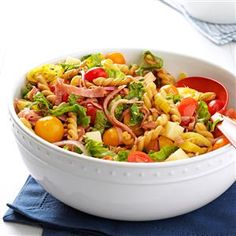 Hero Pasta Salad Recipe -Hide this salad until serving time, or you might be surprised to find it gone! Try adding kalamata olives, peppers or yellow tomatoes. Be creative. —Angela Leinenbach, Mechanicsville, Virginia