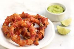 Smoked Bacon-Wrapped Onion Rings with Avocado Lime Sauce
