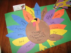 These are the Thanksgiving place mats we made last year. We also made those turkey napkin holders. I do...