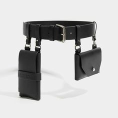 he Black Double Pocket Belt, a utilitarian take on a classic belt, made with smooth saddlery leather. Fastening on a single buckle, this Leather Belt Bag, Leather Buckle, Leather Harness, Smooth Leather, Black Leather, Patent Leather, Diy Accessoires, Fashion Belts, Fashion Clothes