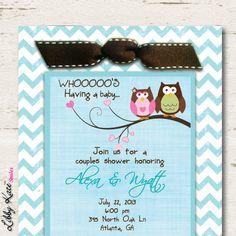 Owl Baby Shower Invitation Couples Boy by LibbyKateSmiles on Etsy, $1.69