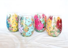 Stemless Wine Glasses Hand Painted Floral Mixed Flowers 3