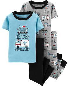 14 Carters Toddler Boys 4 Pc Pajama PJs Sleep Play Sleep Snug fit Cotton Firefighter Hero