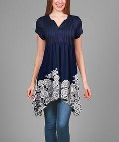 Blue & White Floral Pin Tuck Handkerchief Tunic #zulily #zulilyfinds