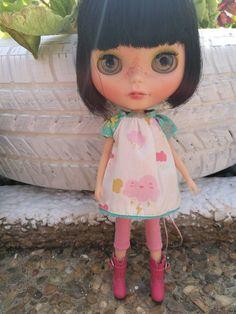 Vestido para blythe doll nubes lluvia. blythe dress ropa de muñeca
