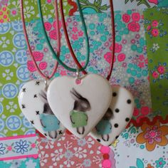 Porcelain Shy Bunny Necklace With Adjustable Leather Cord