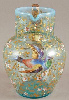 Blue Opalescent 19C Moser Art Glass Pitcher by Virgie.