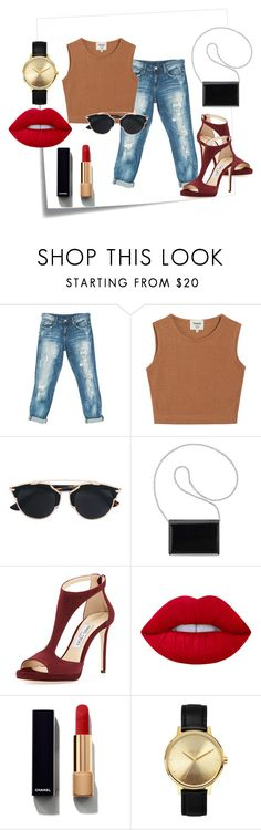 """""""Style #12 Casual"""" by ayuhariyani on Polyvore featuring Post-It, Sans Souci, Samuji, Christian Dior, Nine West, Jimmy Choo, Lime Crime, Chanel and Nixon"""