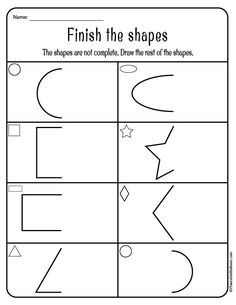 Tracing shapes worksheets for toddlers and preschoolers. Learning shapes can be fun with these free printable worksheets! - Kids education and learning acts Symmetry Worksheets, Shape Worksheets For Preschool, Shapes Worksheets, Preschool Printables, Kindergarten Worksheets, Free Preschool, Tracing Worksheets, Alphabet Worksheets, Preschool Themes