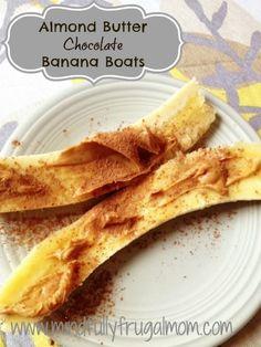 Chocolate Almond Butter Banana Boats  - Healthy Snack #Paleo #Glutenfree #Kidfriendly