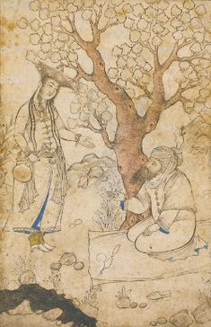 A Maiden and Bearded Man by a Stream, attributable to Muhammad Qasim, Persia, Safavid, first half 17th century
