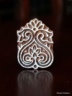 Hand Carved Indian Wood Textile Stamp Block- Floral Motif. $11.00, via Etsy.