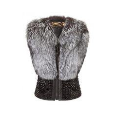 """fur vest """"star appeal"""" PHILIPP PLEIN ($7,655) ❤ liked on Polyvore featuring outerwear, vests, jackets, waistcoat vest, vest waistcoat, studded vest, philipp plein e fur waistcoat"""