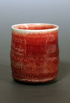 Ceramics by Eddie and Margaret Curtis at Studiopottery.co.uk - Margaret Curtis, 2005. Copper red porcelain teabowl.
