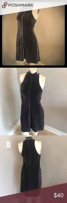Vintage metallic dress!! Vintage high neck black/silver sleeveless metallic dress. Size 6 Dresses