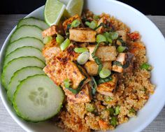 Basil Tofu Bowl with Stir-Fried Quinoa - Use Ancient Harvest Quinoa to guarantee your product is 100% #GlutenFree #Organic #NonGMO