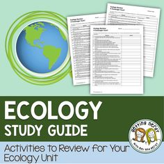 Ecosystems Study Guide This 50 question Ecology Study Guide covers ecology topics such as food chains, food webs, symbiosis, biomes, predator-prey interactions, levels of organization, and energy flow through an ecosystem.