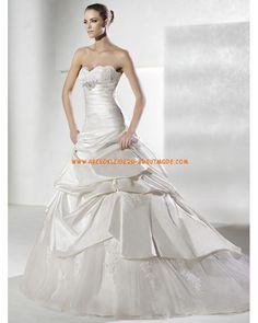 Klassische Luxuriöse Brautmode aus Taft Meerjungfrau mit Perlen herzausschnitt mit Schleppe