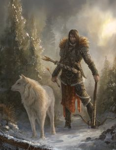 """The hunter stopped and leant towards his wolf dæmon. Every sense was alive and fresh, taking in the light landscape. """"Be careful Stan, they're coming"""", his dæmon whispered to him, turning his colossal white head. Stan drew an arrow to his bow and held it taut, ready to strike. They sauntered on, his Dæmon Chester growling softly at every snap of a twig or rustle of a leaf. Stan placed his free hand on his dæmons' warm head, both for his reassurance and hers. He had to be strong, he was a…"""