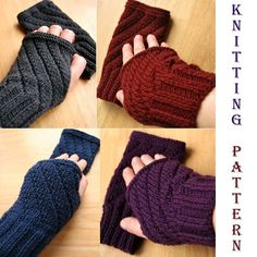 Knitting Pattern - Fingerless Gloves - Darting Diagonals - PDF Electronic Delivery
