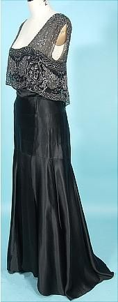 c. 1930's Black Silk Charmeuse Bias Cut Gown with Beaded Net Bodice! Museum Deaccession. Sideways