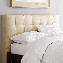 Low Leather Grid-Tufted Headboard