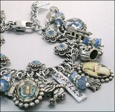 Harry Potter Charm Bracelet, Silver Charm Bracelet, Vintage Images Inspired by Harry Potter Jewelry -I want this!!!