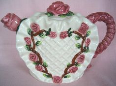 Pink Rose Heart Shape Teapot Hand Painted Victorian 3d Rosebuds Figural Shabby Cottage Chic. $53.99, via Etsy.