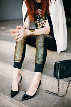 Gold tweed pants + white blazer + Chanel crossbody