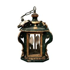 Antique Venetian Painted Wood Lantern Late 18th Century - $2450.