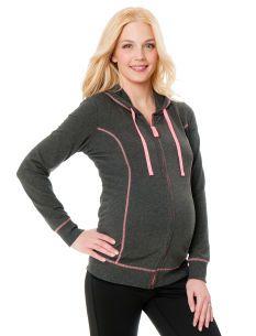 Motherhood Maternity Long Sleeve Jersey Knit Hooded Maternity Jacket