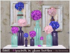 The decor in the style of Provence and Shabby-chic: Hyacinth flowers in glass bottles. Found in TSR Category 'Sims 4 Decorative Sets' Source: Severinka_'s Hyacinth Flowers, Flower Vases, The Sims, Sims Cc, Sims 4 Controls, Sims 4 Blog, Sims 4 Update, Sims 4 Cc Finds, Pet Furniture
