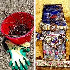 From trash in my little red bucket to art for your home! Recycling can be colorful and creative! #ZeroWaste #RecycledArt #ReuseIt #SalvagedObjects #GreenArt #EcoFriendly #Sustainable #UpCycled #Charleston