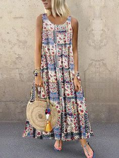 Product Bohemian style digital print long sleeveless dress SKU Gender Women Occasion Daily life/Date Type Fashion/Leisure Material Polyester Decoration Printing Please Note:All dimensi… Bohemian Style Clothing, Bohemian Fashion, Bohemian Dresses, Digital Print, Floral Maxi Dress, Ladies Dress Design, Casual Dresses, Maxi Dresses, Casual Outfits
