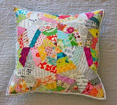 Texty Spiderweb Pillow by Darci - Stitches, via Flickr. Curved effect with straight pieces