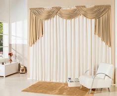 cortina branca e dourada