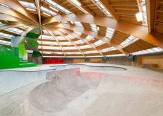 """CEBRA's arena """"grows"""" from concrete skate park by Glifberg+Lykkeskate"""