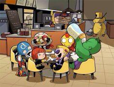 Avengers Babies - Steve's holding a Bucky bear! Baby Avengers, The Avengers, Young Avengers, Spiderman Venom, Batman, Deadpool Wolverine, Nightwing, Bucky, Loki