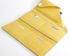 Leather Wrap Wallet The Constance in Chartreuse by RobbieMoto