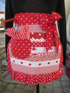 Aprons   Red and White Aprons  Patchwork Aprons    by AnniesAttic, $34.95