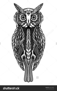 Cute decorative ornamental Owl. Doodle style. Hand drawn vector illustration.