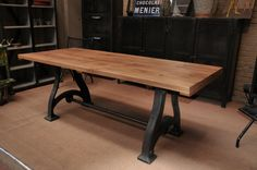 Industrial Machine Table With an Oak Top From FarFetchers.com