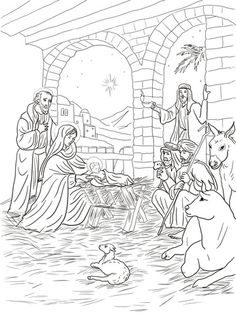 shepherds come to see baby jesus coloring page
