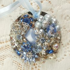 Icy Blues Vintage Jewelry Embellished Ornament by glassbeadtreasures, via Flickr