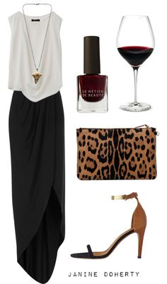 black maxi skirt, draped white tank, strappy black and tan heels, leopard and wine accessories