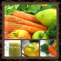 Chef Ray's Juice of the Day: The colors of my rainbow. Shopping the perimeter of Meijer never tasted so good. Now this is fresh! Carrot, celery, apples (two kinds), spinach, kale, lemon, key lime, cucumber, pear, ginger.