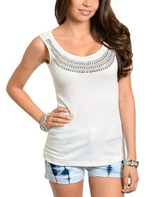 Another great find on #zulily! Ivory Studded Cutout Scoop Neck Tank #zulilyfinds