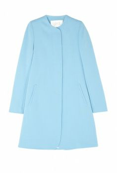 GOAT | Cornflower Redgrave City Coat | 100% Wool Lining: 63% Acetate 37% Polyester. Dry clean only | Structured, midi length coat in cornflower blue featuring slanted front pockets and concealed button fastening. The coat is subtly tailored with slightly padded shoulders and a rounded edge to the end of it's hem | £580