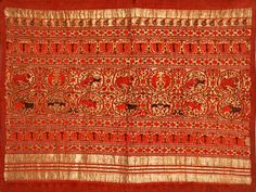 Pallu (end panel) of a silk/cotton saree c.1650 AD, with gold brocade zari work. From Chanderi, Madhya Pradesh, MP was under Mughal control in the 17th century. At the National Museum Janpath, New Delhi.